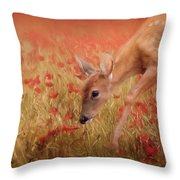 Inspecting The Poppies Throw Pillow
