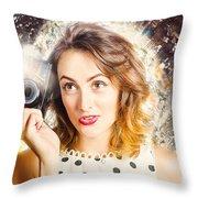 Inspiration Of A Creative Pinup Photographer  Throw Pillow