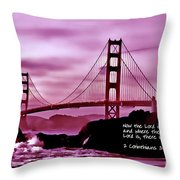Inspirational - Nightfall At The Golden Gate Throw Pillow