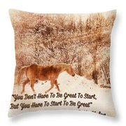 Inspirational Quote Horse Photo Throw Pillow