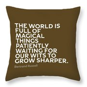 Inspirational Quotes Series 010 Bertrand Russell Throw Pillow