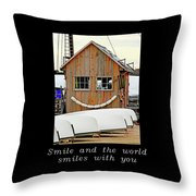 Inspirational- The World Smiles With You Throw Pillow