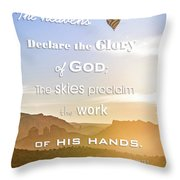 Hot Air Balloon Over Cathedral Rock Throw Pillow
