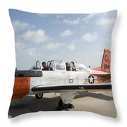 Instructor Pilot And Student In A T-34 Throw Pillow