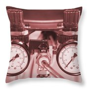 Instruments For Measuring Pressure In Red Hue Throw Pillow