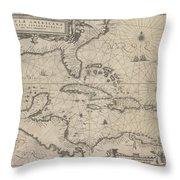 Insulae Americanae In Oceano Septentrionale Throw Pillow