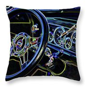 Interior Of A Classic Vintage Car Throw Pillow