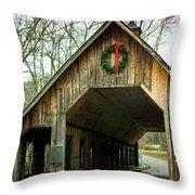 Interior Of Covered Bridge Throw Pillow