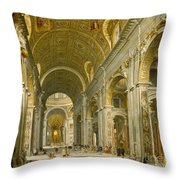 Interior Of St. Peter's - Rome Throw Pillow