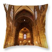 Interior Of Strasbourg Cathedral Throw Pillow