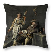 Interior Scene In Front Of A Fireplace Throw Pillow