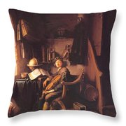Interior With A Young Violinist 1637 Throw Pillow