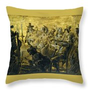 Interior With Elegant Figures Singing And Making Music By Candle Light Throw Pillow
