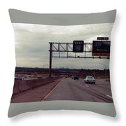 Interstate 70 West At Exit 8b, Interstate 435 North Exit, 1987 Throw Pillow