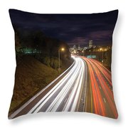 Interstate Freeway Through Portland Oregon Downtown Throw Pillow