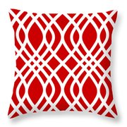 Intertwine Latticework With Border In Red Throw Pillow