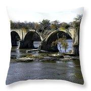 Interurban Bridge At Roche De Bout Throw Pillow