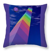 Into The Future - Rainbow Monolith And Planet Throw Pillow