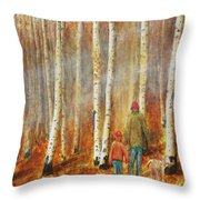 Into The Misty Autmun Woods Throw Pillow