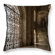 Intricate Ironwork - Lacy Wrought Iron Gates Throw Pillow