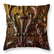 Intricate Wood Carving On Wall Panel At Swannonoa 4407vt Throw Pillow