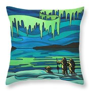 Inuit Love Arctic Landscape Painting Throw Pillow