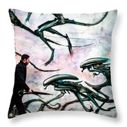 Invation In   A Street . Throw Pillow