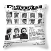 Investigator's Copy - Ted Bundy Wanted Document  1978 Throw Pillow