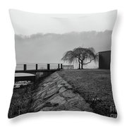 Inwood Hill Park In Fog Throw Pillow