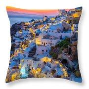 Oia Sunset Throw Pillow