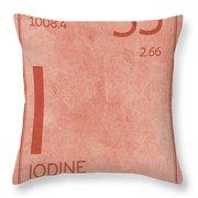 Iodine Element Symbol Periodic Table Series 053 Throw Pillow
