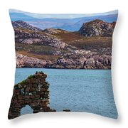 Iona Ruins And Mull Hills Throw Pillow