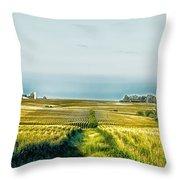 Iowa Cornfield Panorama Throw Pillow