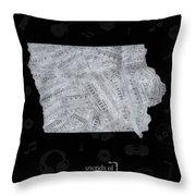 Iowa Map Music Notes 2 Throw Pillow