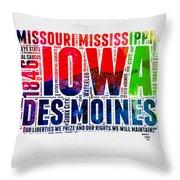 Iowa Watercolor Word Cloud  Throw Pillow