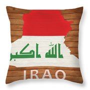 Iraq Rustic Map On Wood Throw Pillow