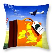Ireland Vintage Travel Poster Restored Throw Pillow