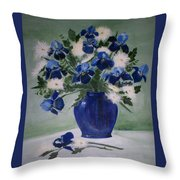 Iris And Mums Throw Pillow