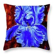 Iris Blues Throw Pillow