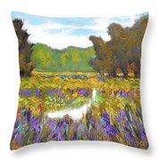 Iris By Creek Throw Pillow
