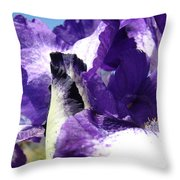 Iris Flower Art Print Purple Irises Botanical Floral Artwork Throw Pillow