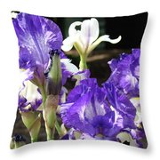 Iris Flowers Floral Art Prints Purple Irises Baslee Troutman Throw Pillow
