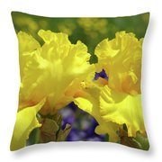 Iris Flowers Garden Art Yellow Irises Baslee Troutman Throw Pillow