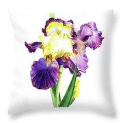 Iris Flowers Watercolor  Throw Pillow
