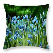 Iris Galore Throw Pillow