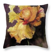 Iris Gold Throw Pillow