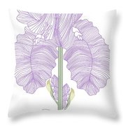 Iris Line Drawing Two Throw Pillow