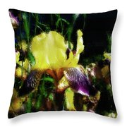 Iris Purple And Yellow Throw Pillow