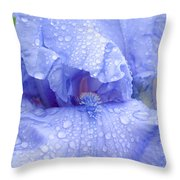 Iris Rainy Day Blue Throw Pillow