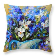 Irises And Blue Glass Throw Pillow